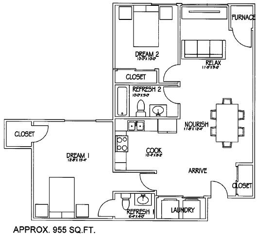 2 Bedroom 2 Bath second layout